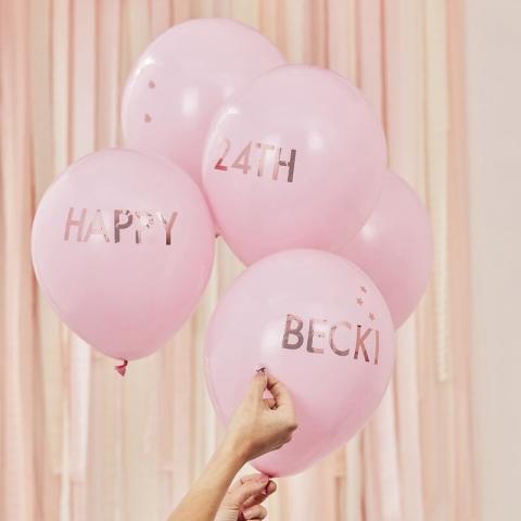 Gummiballonger med text gör-det-själv 5st, rosa