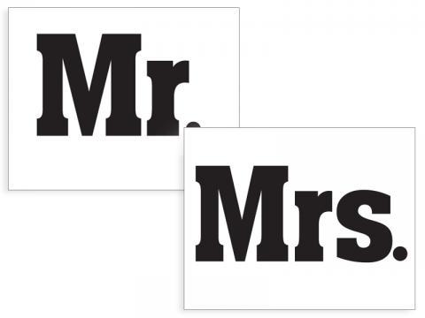 Klistermärke för sko, Mr&Mrs