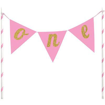 ONE -tårtdekoration, pink