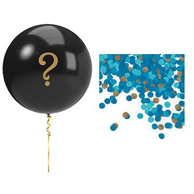 Gender reveal - jätteballong confetti, pojke