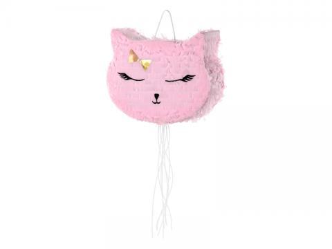 Piñata med dragsnöre, rosa katt