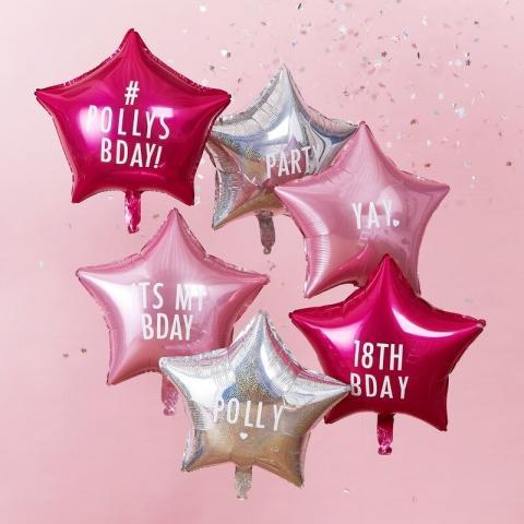 Personifierbara folieballonger 6st, rosa & cerise