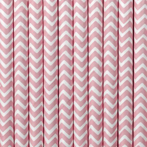 Pappersugrör, rosa chevron