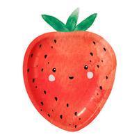 Tallrik, jordgubbe