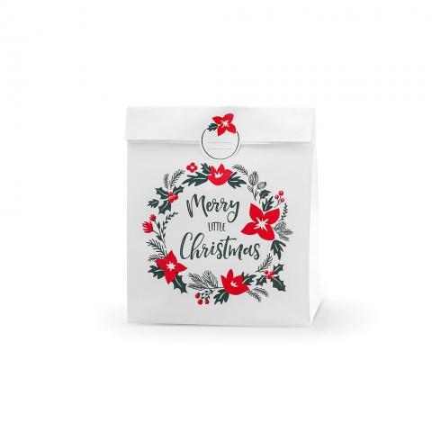 Presentpåse vit, Merry Little Christmas