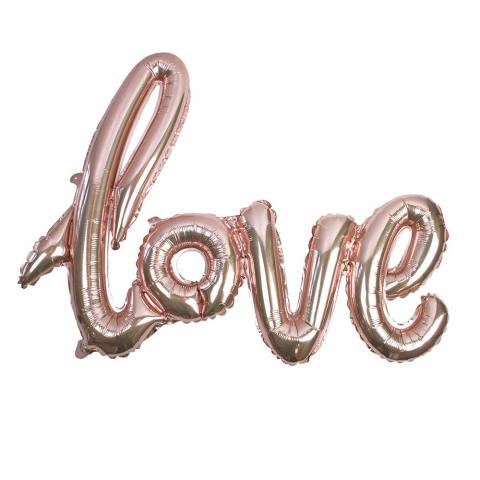 Folieballong, love - roséguld