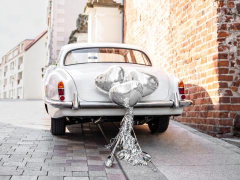 Bröllopsbil dekorationsset, Heart silver