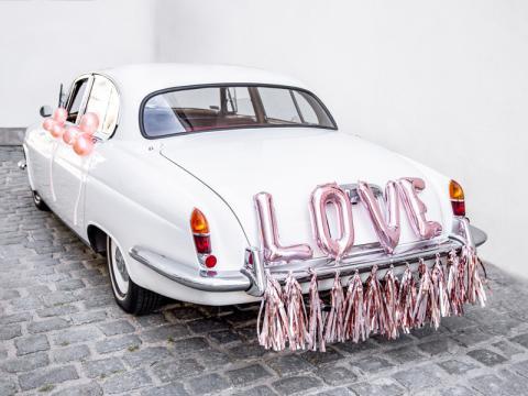 Bröllopsbil dekorationsset, Love roséguld