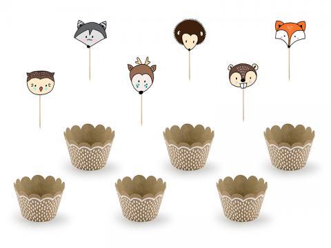 Cupcake dekorationsset, skogsdjur