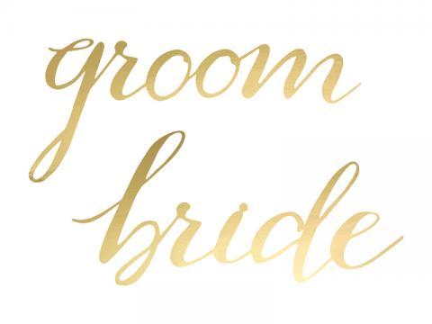 Hängande dekoration, Bride & Groom, Guld