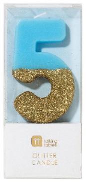 Tårtljus 5, guldglitter (blå)
