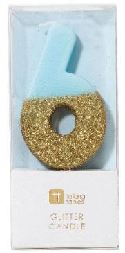Tårtljus 6, guldglitter (blå)