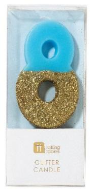 Tårtljus 8, guldglitter (blå)