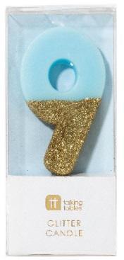 Tårtljus 9, guldglitter (blå)