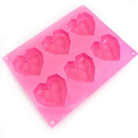 Silikonform, diamond hearts
