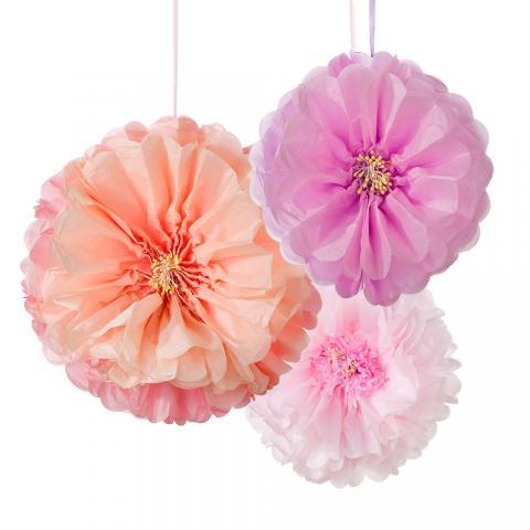 Pom Poms, rosa blommor