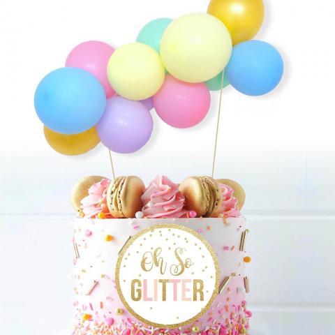 Tårtdekoration ballongbåge, pasteller
