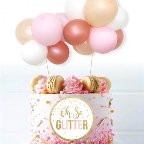 Tårtdekoration ballongbåge, roséguld
