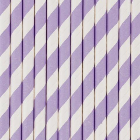 Pappersugrör, violett randiga  25st